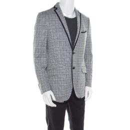 Etro Blue Glen Plaid Checked Linen and Cotton Superlegger Blazer XL 180449