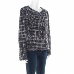 Chanel Midnight Blue Tweed Double Breasted Jacket M 180667