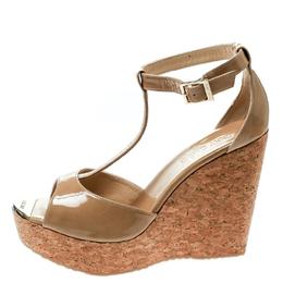 Jimmy Choo Beige Patent Leather Pela Cork Wedge T Strap Sandals Size 41