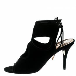 Aquazzura Black Suede Sexy Thing Cutout Sandals Size 38 181442