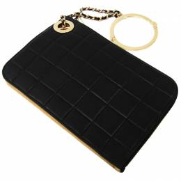 Chanel Black Bar Quilted Leather Evening Clutch 181028