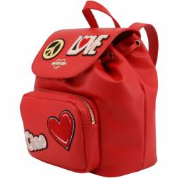 Love Moschino Red Faux Leather Embellished Drawstring Backpack 183470