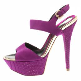 Baldinini Purple Suede Open Toe Ankle Strap Platform Sandals Size 36 185350