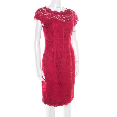 ML by Monique Lhuillier Pink Floral Lace Scalloped Trim Cut Out Back Detail Dress M 186101 - 1