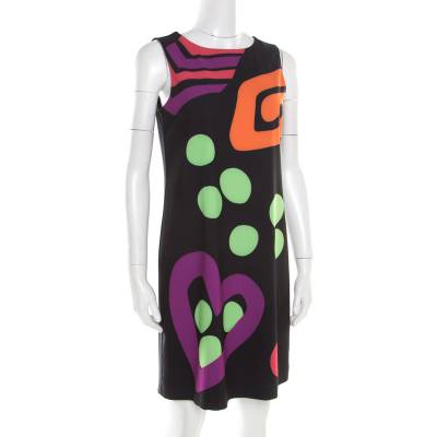 Boutique Moschino Black Abstract Printed Sleeveless Shift Dress M 186616 - 1
