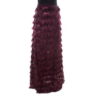 Max Mara Purple Metallic Jacquard Faux Feather Fringed Maxi Skirt S 186728 - 2