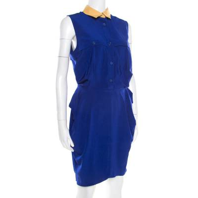 Carven Blue Contrast Collar Front Tie Detail Sleeveless Dress M 186720 - 1