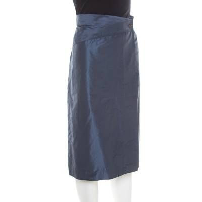 Jil Sander Grey Asymmetric Waist Detail Wrap Skirt L 185717 - 1