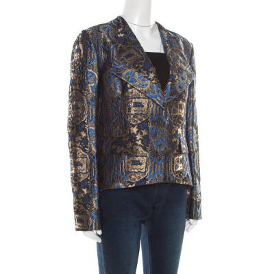 Etro Blue and Gold Lurex Embroidered Jacquard Jacket L 185870 - 1