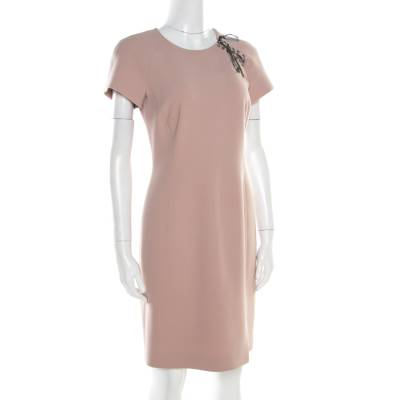 Emilio Pucci Blush Pink Wool Contrast Bodice Tie Detail Short Sleeve Dress M 186609 - 1