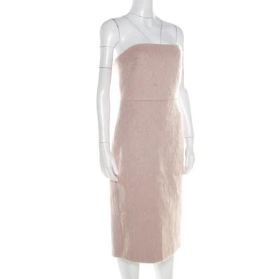 Max Mara Blush Pink Alpaca Fur Strapless Razza Dress S 186739 - 1