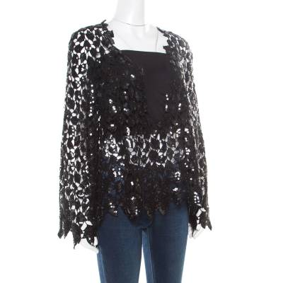 Chanel Black Sequined Cutout Guipure Lace Oversized Jacket M 186132 - 1