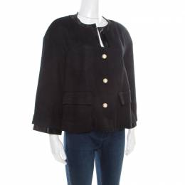 Chanel Black Textured Knit Leather Trim Logo Pearl Button Jacket M 186137