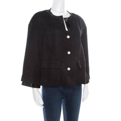 Chanel Black Textured Knit Leather Trim Logo Pearl Button Jacket M 186137 - 1