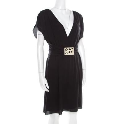 Valentino Black Silk Plunge Neck Buckle Detail Belted Dress M 186717 - 2