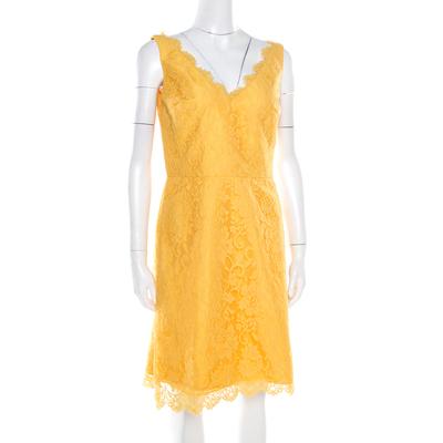 ML By Monique Lhuillier Yellow Floral Lace Scalloped Trim Detail V-Neck Dress M 186096 - 1