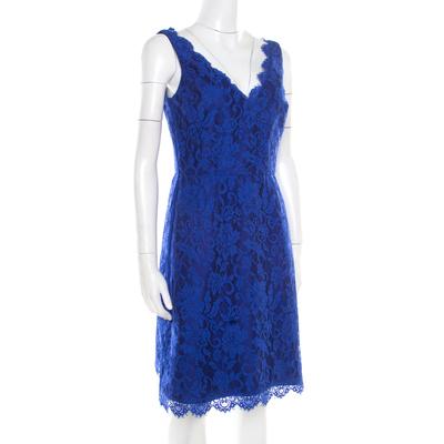 ML By Monique Lhuillier Blue Floral Lace Scalloped Trim Detail V-Neck Dress S 186093 - 1