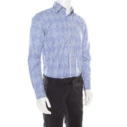 Etro Blue and White Striped Argyle Pattern Cotton Jacquard Long Sleeve Shirt M 186082