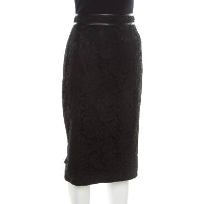 Burberry London Black Floral Lace Leather Trim Detail Pencil Skirt S 186088 - 1