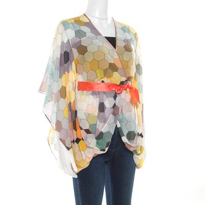 Matthew Williamson Multicolor Honeycomb Printed Silk Wrap Kimono Tunic S 186512 - 1