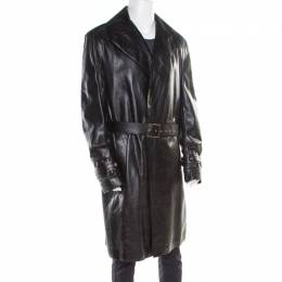 Versace Signature Black Leather Belted Overcoat XXL 186868