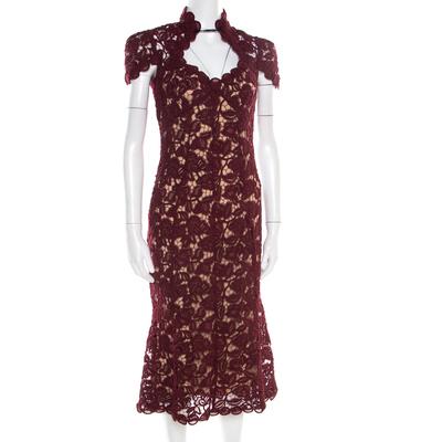 Marc Jacobs Burgundy Rose Guipure Lace Cap Sleeve Midi Dress S 186078 - 1