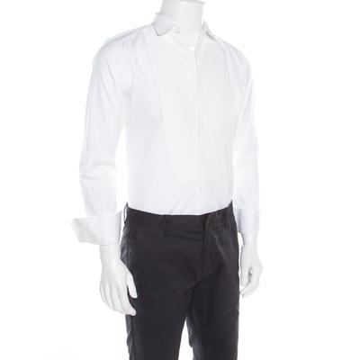 Dolce & Gabbana Gold Optic White Cotton Textured Bib Detail Tuxedo Shirt M 186312 - 1