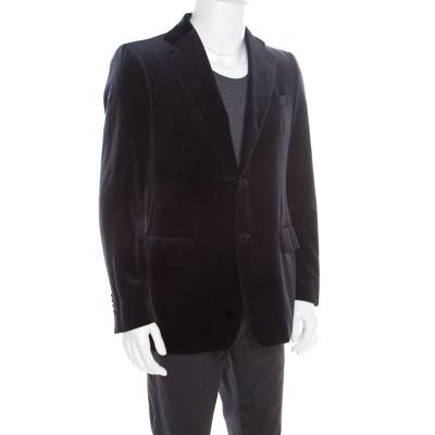 Salvatore Ferragamo Navy Blue Mini Houndstooth Patterned Velvet Blazer L 186217 - 1