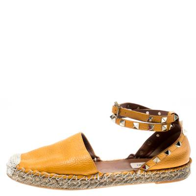 Valentino Yellow Leather Rockstud Ankle Wrap Espadrilles Size 37 185986 - 2