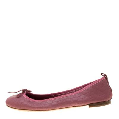 Gucci Pink Micro Guccissima Leather Bow Detail Ballet Flats 38.5 186849 - 1