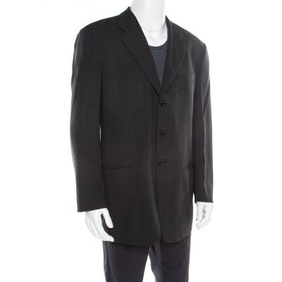 Armani Collezioni Charcoal Grey Herringbone Wool Three Button Blazer XL 186208 - 1