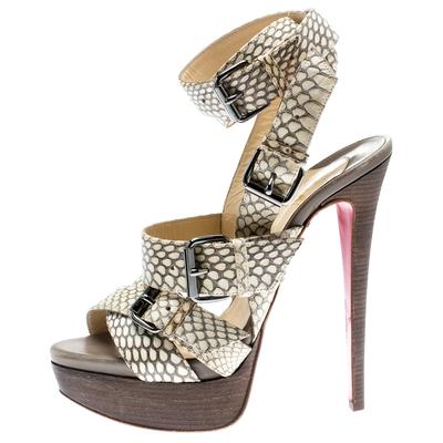Christian Louboutin Beige Cobra Toutenkaboucle Strappy Platform Sandals Size 36 185372 - 1