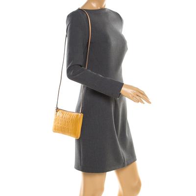 Carolina Herrera Mustard Signature Leather Crossbody Bag 187012 - 1