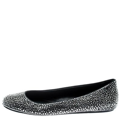 Le Silla Black Suede Crystal Embellished Ballet Flats Size 41 187011 - 1