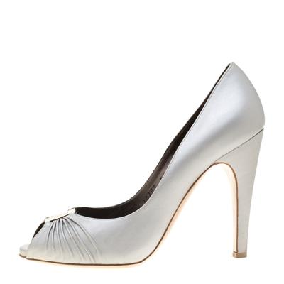 Salvatore Ferragamo Grey Leather Fiberia Peep Toe Pumps Size 40 187017 - 1