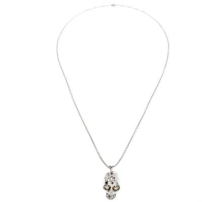 Alexander McQueen Crystal Embedded Silver Tone Skull Pendant Necklace 187307 - 1