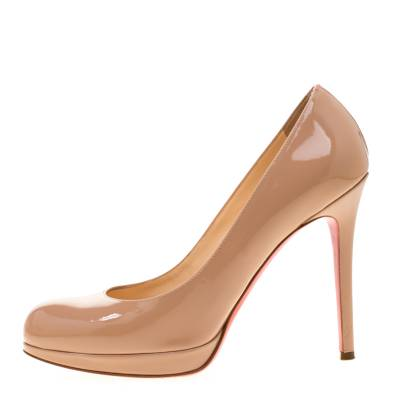 Christian Louboutin Beige Patent Leather Neofilo Platform Pumps Size 37 187302 - 1