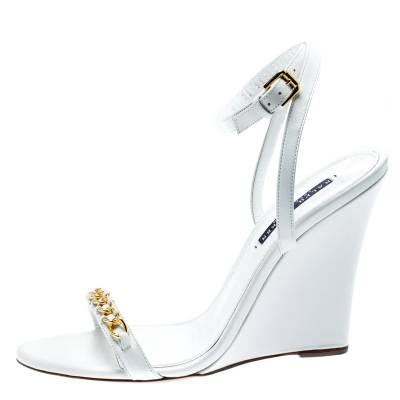 Ralph Lauren White Leather Chain Detail Ankle Wrap Wedge Sandals Size 40 185367 - 1