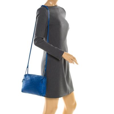 Bottega Veneta Blue Intrecciato Leather Nodini Crossbody Bag 187378 - 1