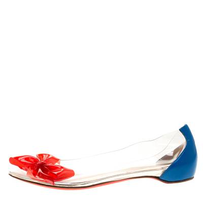 Christian Louboutin Two Tone PVC And Leather Tip Bow Ballet Flats Size 37 186761 - 2