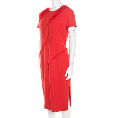Altuzarra Poppy Red Frayed Trim Crepe Strider Dress L 185941 - 1