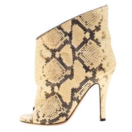 Maison Margiela Beige Faux Python Leather Slouch Peep Toe Ankle Boots Size 35.5 186795