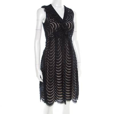 Marc By Marc Jacobs Navy Blue Eyelet Embroidered Ruffle Detail Edith Dress S 186154 - 1