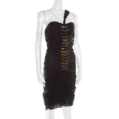 Gucci Black Silk Metal Fish Bone Embellished Ruched Dress M 186152 - 1