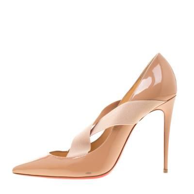 Christian Louboutin Beige Patent Leather Sharpstagram Cross Strap Pointed Toe Pumps Size 39.5 187176 - 1