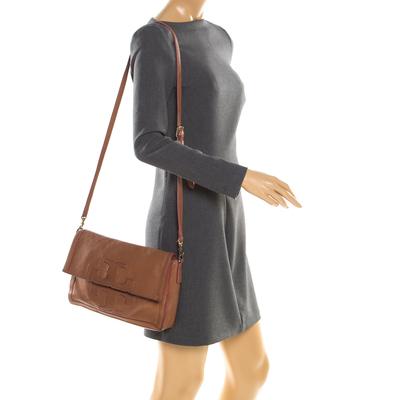 Tory Burch Brown Leather Flap Crossbody Bag 187220 - 2