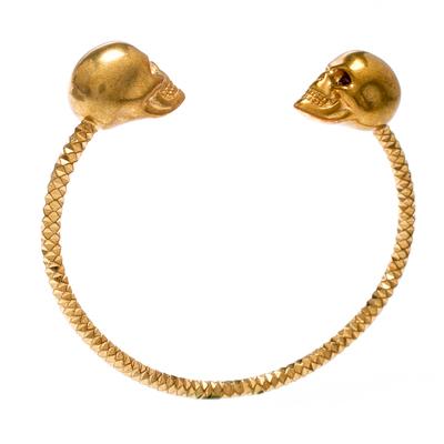 Alexander McQueen Twin Skull Gold Tone Open Cuff Bracelet 19cm 187227 - 2