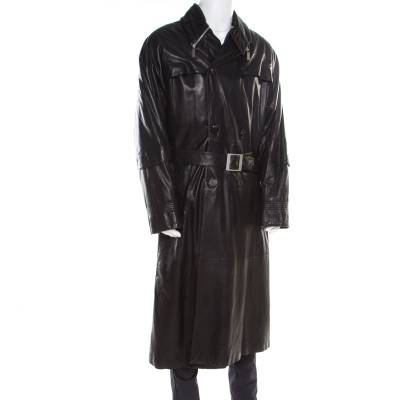 Gianni Versace Couture Black Leather Double Breasted Belted Overcoat XL 186803 - 2