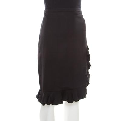 Armani Collezioni Black Silk Ruffle Detail Skirt XL 185691 - 1