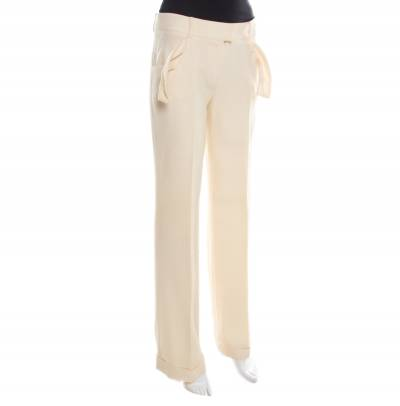 Dior Cream Wool Straight Fit Trousers M 185927 - 1